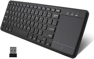 JP155 USBワイヤレス キーボード タッチパッド搭載 2.4GHz無線接続 マウス一体型 電池式 US配列 78キー Xタイプパンタグラフキー 軽量 薄型 携帯便利 Android TV Box Smart TV PC Mac Noteb...