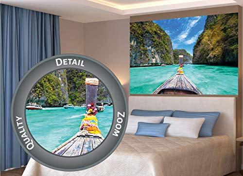 GREAT ART XXL Poster – Longtail-Boot Trip ins Paradies – Strand Natur Sonne Meer Deko Wanddekoration Ozean Bucht Wandbild Thailand Motiv Fotoposter Küste Dekoration (140 x 100 cm)