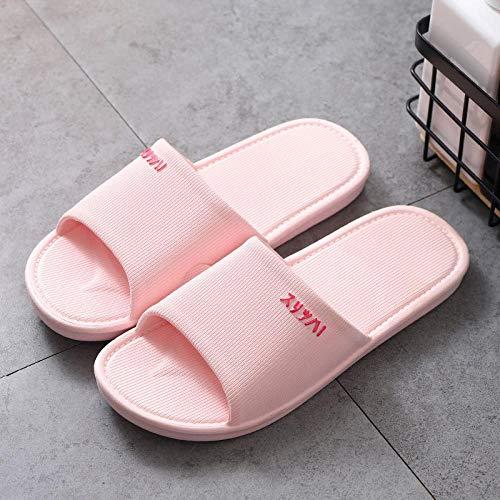 Slippers - Zapatillas de estar por casa antideslizantes unisex para el hogar, con desodorante y suaves sandalias de masaje 19 femeninas y rosas_37 para interior y hombre