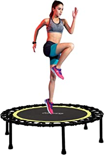 Newan 40''-48'' Silent Fitness Mini Trampoline - Indoor Rebounder for Adults - Best Urban Cardio Jump Fitness Workout Trainer, Covered Bungee Rope System - Max Limit 330 lbs