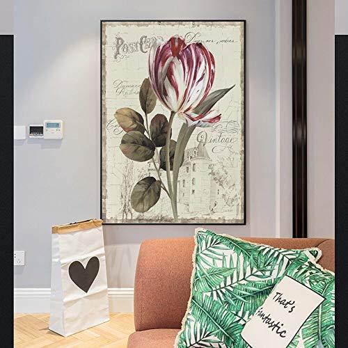 YuanMinglu Tela Fiore di peonia Poster murale in Stile Cinese Grande Fiore Poster e Stampa Foto Arte Parete Pittura frameless30x45cm