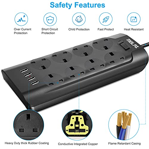 Extension-Lead-Surge-Protection-8-Way-MBLAI-Extension-Leads-with-4-USB-Slots-2M-Cable-Power-Strip-3000W13A-Wall-Mount-with-Surge-Protector-Switches-and-Cable-Organiser-for-Home-and-OfficeBlack