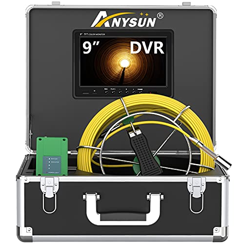 Sewer Camera with 9 inch LCD Screen 100ft Inspection Camera HD Monitor Plumbing Camera with DVR Video Pipe Inspection Equipment Snake Video System 1000TVL Color Duct Camera (100ft/30m-DVR)