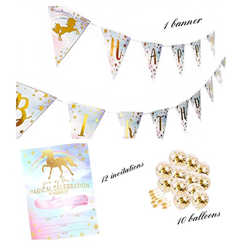 Unicorn Party Supplies set - Unicorn Rainbow Happy Birthday Banner Pennant, 12 Unicorn Invitations with Envelopes for Kids & 10 Gold confetti Balloons – Unicorn Party Decorations – By NYusta Party