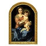 Cuadro decoración Virgen Maria del Pañuelo de Murillo. Madera 28x18,5x1, litografia fiel al original barnizada con polimero protector a mano, colgador incluido.