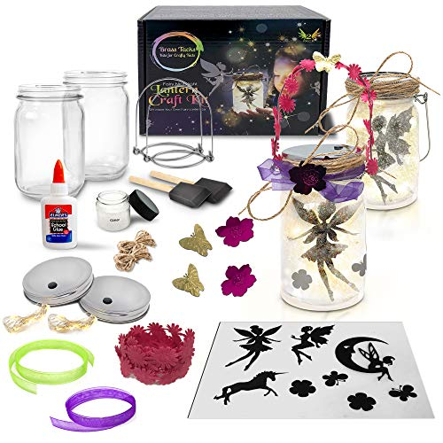 Fairy Nightlight Lantern Craft Kit (2 Pack Plastic Jars) - DIY Make Your Own Fairy Lantern Jar - Craft Project for Kids -(Fairy Lantern 2 Pack Plastic Jars)