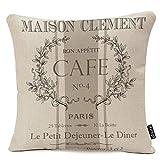 oFloral Throw Pillow Covers Modern Vintage French Cafe Decorative Pillow Case Paris Home Decor Square 18 x 18 Inch Cushion Cotton Linen Pillowcase
