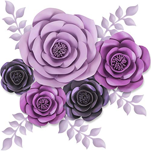 Rainbows & Lilies Large 3D Paper Flowers Decorations for Wall, Wedding, Bridal Shower, Baby Shower, Nursery Decor, Centerpieces, Flower Backdrop, Party, 10-pcs, Handmade & Assembled (Purple, Lavender)