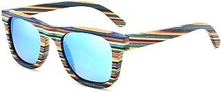 Fashion Wood Personality Colorful Polarized Anti-UV Sunglasses Full Frame Wood Color Film Sunglasses Retro (Color : Blue)