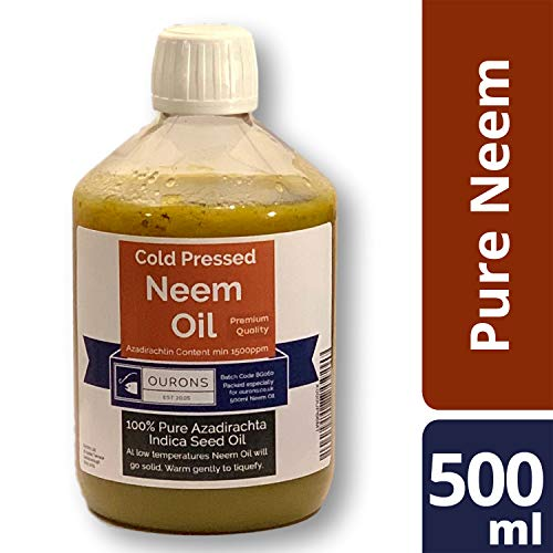 Neem Oil - 500ml Pure Cold Pressed Premium Seed Oil 1500pm Azadirachtin Content