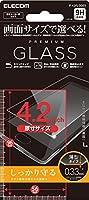 ELECOM スマートフォン用 汎用フィルム 4.2inch ガラスフィルム薄型0.33mm  P-42FLGG03