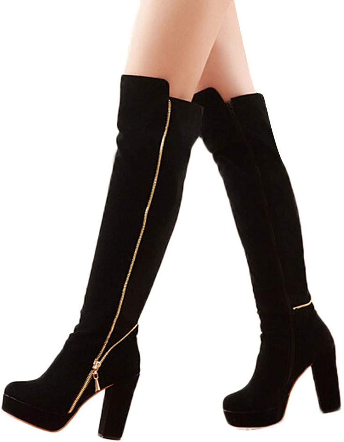A-LING Women's Tilted Left Right Zip High Anti-Slip Thick Sexy Over-Knee Boots