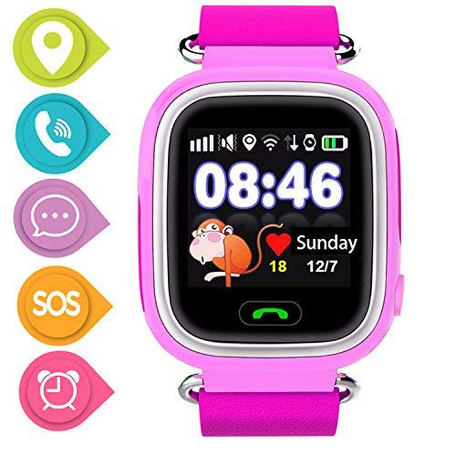 SmartWatch Teléfono Niño Niña, Pantalla táctil Reloj Inteligente Localizador GPS LBS WiFi con Chat de Voz SOS Cámara Despertador Reloj Digital Watch Regalo Estudiante Compatibles con iOS Android,Rosa