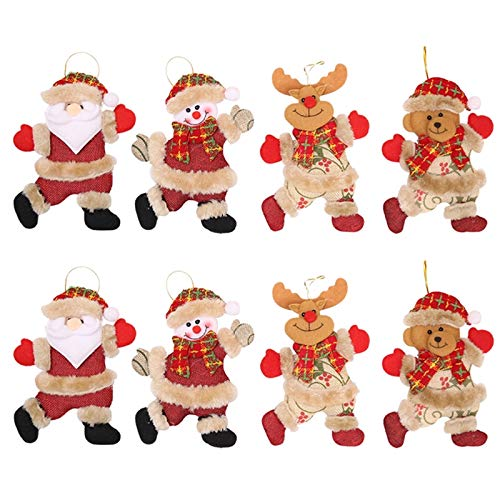 Yopay 8 Pack Christmas Ornaments Bells Decorations, Hanging Snowman Old Man/Bear/Elk Ornaments Tree Door Party Supplies