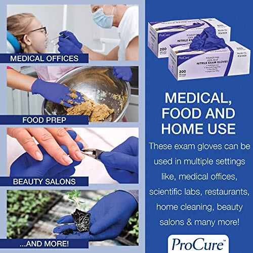 ProCure Disposable Nitrile Gloves - Large, 2,000 Count Case - Powder Free, Rubber Latex Free, Medical Exam Grade, Non Sterile, Ambidextrous - Soft with Textured Tips - Cool Blue