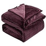 ZOJI Manta mullida, 350 g/m², gruesa, color rojo vino (168 x 229 cm), no se deshilacha ni se cae, lavable a máquina, como manta de sofá, manta suave y cálida, manta para dormir