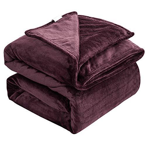 ZOJI Kuscheldecke,350g/㎡ Verdicken Flauschige weinrot Decke(168 x 229cm) Kein Ausblenden und Fell Fallen,Waschmaschinenfest,als Sofadecke Weiche Warme Couch Decken Sofa Decken Wohndecke Schlafdecke