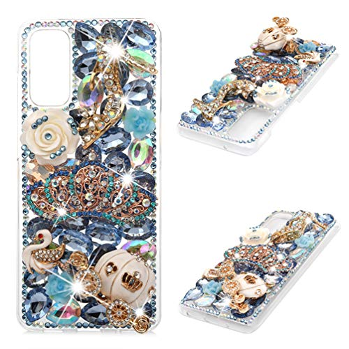 Samsung Galaxy S20 Case, Mavis's Diary 3D Handmade Luxury Bling Blue Crown Golden Pumpkin Car High-Heeled White Swan Rose Shiny Crystal Diamonds Glitter Rhinestones Gems Clear Hard PC Cover