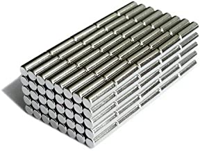 BestPriceEver 100 Pieces of 4mm X 10mm Magnets Nickel Coated Round Cylindrical Premium Brushed Refrigerator Magnet For Science And School Projects