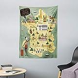 ABAKUHAUS Francia Tapiz de Pared y Cubrecama Suave, Viajes Señales Mapa del Doodle, Estampado Digital Vívido, 110 x 150 cm, Multicolor