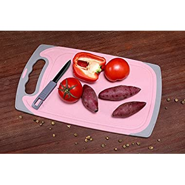 "Migecon Grooves Design Cutting Board 13.7"" x 8.27"" Wheatgrass Kitchen Vegetables Chopping Mats with Easy-Grip Handles Easy-to-Clean Non-Slip PBA Free Board, Small, Pink"