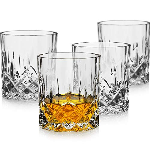 LUXU Whiskey Glasses(Set of 4)-11 oz sculpted Scotch Glass,Old Fashioned Glasses,Crystal Bourbon Rock Glasses,Large Bar Glasses,Unique Glassware Tumblers for Cocktails