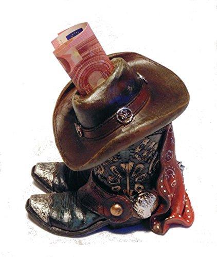 Spardose Sparbüchse Stiefel Sattel Saddle Western Reiter Dekoration Hat Boots