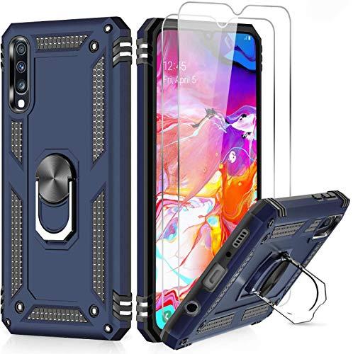 LeYi Funda Samsung Galaxy A50 / A30S / A50S con [2-Unidades] Cristal Vidrio Templado,Armor Carcasa con 360 Grados Anillo iman Soporte Hard PC y Silicona TPU Bumper Antigolpes Case para Movil A50,Azul