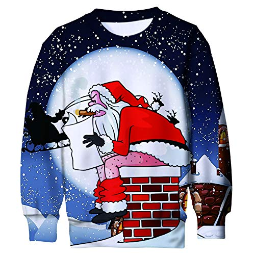 Belovecol Kids Christmas Sweatshirt Naughty Santa Claus Pooping Printed Fleece Sweater Jumper Pullovers Shirt for Party 8-9 Years