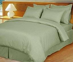 1000 Thread Count Three (3) Piece Queen Size Stripe Duvet Cover Set, 100% Egyptian Cotton, Premium Hotel Quality Queen Green COMIN16JU028041