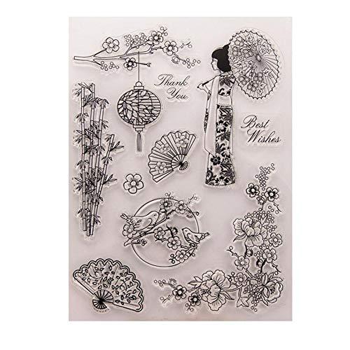 TOMMY LAMBERT Transparente Stempel, japanische Kirschblüte, Kimono-Serie, DIY Handkonto, Scrapbook, Basteln, Karten, Fotoalbum, Dekoration, transparenter Siegelstempel