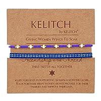 KELITCH 2点セット 友情のストランドブレスレット 重ね付け可能 編組 Miyuki パールビーズブレスレット カラフル レディース ジュエリー