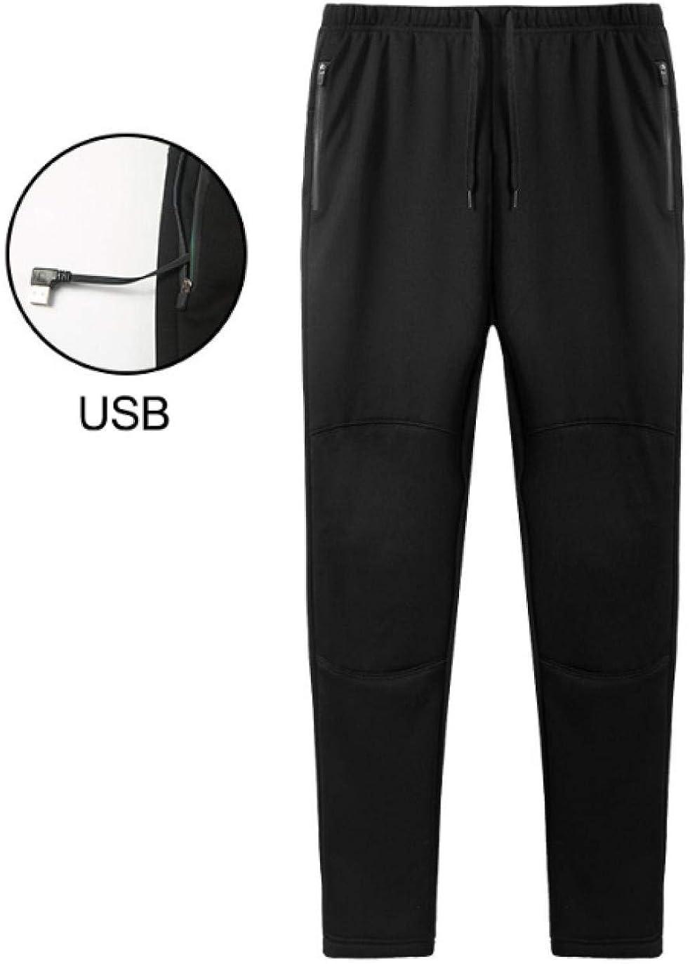 Meaeo Hiver Nouveau Pantalon Chaud Fat Slim 5V USB Chauffage Électrique Casual Pantalon pour Hommes Femmes Lavable Pantalon en Molleton S-5Xl Noir