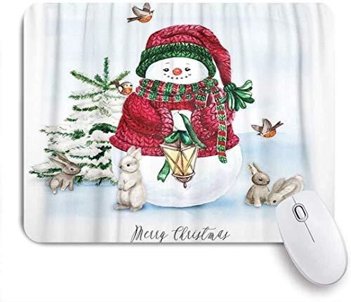 Gaming Mouse Pad rutschfeste Gummibasis, Aquarell-Weihnachtsbaum mit Schneemann-Häschen-Musterdruck, für Computer-Laptop-Schreibtisch