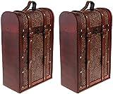 Escultura Caja De Vino Vintage De 2 Piezas Caja De Regalo De Vino De Embalaje Antiguo De Madera 2 Botellas