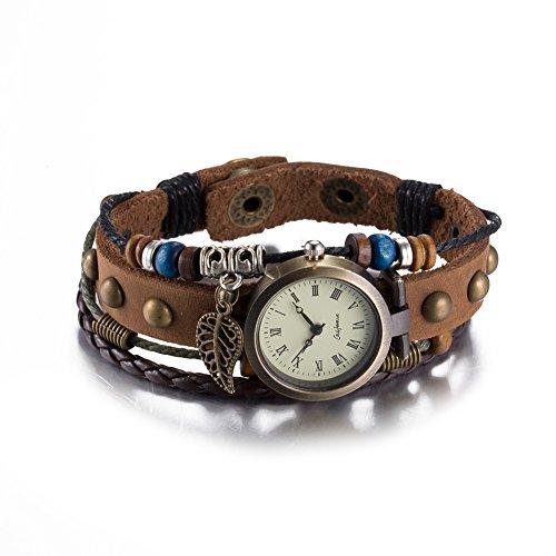 iLove EU Herren Damen Armbanduhr Retro Bronze Hohle Blatt Laub Anhänger Leder Echtleder Armband Armreif Holzperlen Analog Quarz Uhr Dunkelbraun