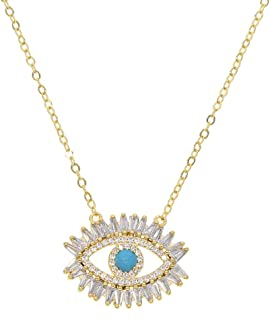 ATJMLADY AAA Cubic Zirconia Baguette cz Gold Plated Turkish Evil Eye Pendant Necklace for Women