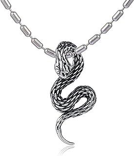 DonDon - Collana in acciaio inossidabile, da uomo, lunghezza 55 cm, con ciondolo a forma di serpente in acciaio inossidabi...