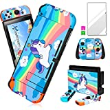 oqpa for Nintendo Switch Skin Cute Kawaii Cartoon Character Design Sticker, Fun Funny Fashion Cool Switch Game Skins for Girls Boys Kids Stickers+Tempered Glass Film for Nintendo Switch (Blue Unicorn)