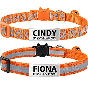 TagME Breakaway Cat Collars with Name Tag Personalized Reflective Kitten Collar with Bell for Girls & Boys 2 Pack Orange