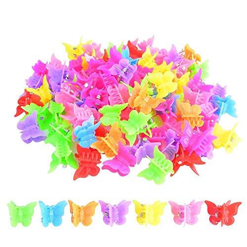 100 Paquets de Pinces à Cheveux Papillon Belle Mini Pince à Cheveux Papillon Accessoires de Cheveux pour Filles et Femmes, Couleur Aléatoire