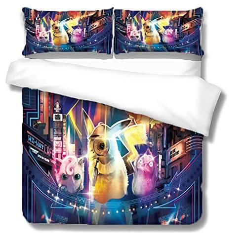 Itscominghome - Juego de cama de matrimonio con funda nórdica de Pikachu estampada en 3D,2 fundas de almohada, 100% microfibra (Pikachu 3,220 x 260 cm)