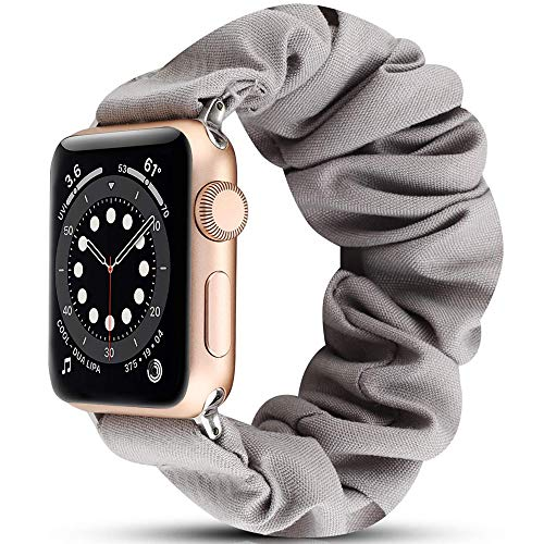 Miimall - Bracciale Scrunchie Compatibile con Apple Watch Series 5/4/3/2/1 (40Mm/38Mm, Grigio)