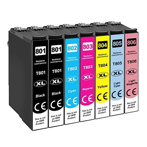 Tinnee 7 Pack 80XL Cartuchos de tinta compatibles con Epson 80XL T801 T802 T803 T804 T805 T806 para Epson Stylus Photo P50 PX650 PX700W PX710W PX720WD PX800FW PX810FW PX820FWD