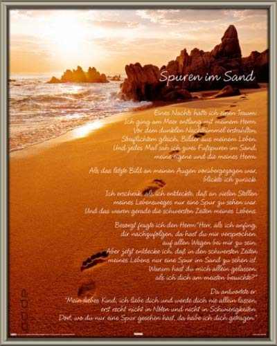 Poster mit Rahmen 40 x 50 cm, Platin - Spuren im Sand - Mini gerahmt - Antireflex Acrylglas