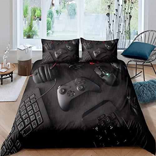 kxry Black Modern Gamepad Bedding Set Full Size Video Game Controller Mouse Keyboard Headphone Duvet Cover for Boys Kids Teens 1 Duvet Cover + 2 Pillow Shams