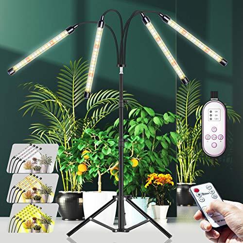 CXhome LED Pflanzenlampe mit Ständer, RF-Fernbedienung & Zeilengesteuerte Timing 4/8/12H, 4 Schaltmodi &10-stufige Helligkeit, Stabiles verstellbar 15.7-43.3 Zoll, Für Zimmerpflanzen