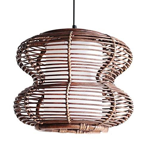 MADBLR7 Modernas y creativas luces colgantes con forma de calabaza, hechas a mano con bambú, tejido, jaula de pájaros, lámpara colgante para sala de estar, restaurante, bar, loft, vestíbulo, iluminaci