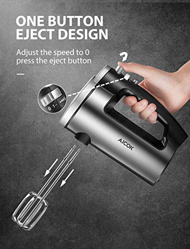 Hand Mixer Electric 6 Speed Hand Mixer Stainless Steel with Turbo and Easy Eject Button, Durable Handheld Mixer Includes Sturdy Beaters and Dough Hooks, Decen