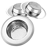 Product Image of the Helect 3-Pack Kitchen Sink Strainer Stainless Steel Drain Filter Strainer with Large Wide Rim 4.5' for Kitchen Sinks